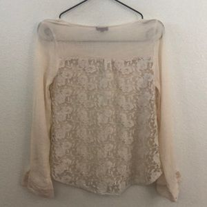 MINE Anthropologie Lace Detail Top LARGE P1